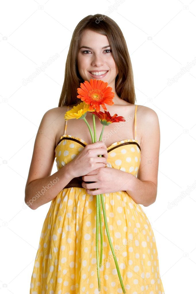 Little Girl holding flowers. — Stock Photo © sundikova