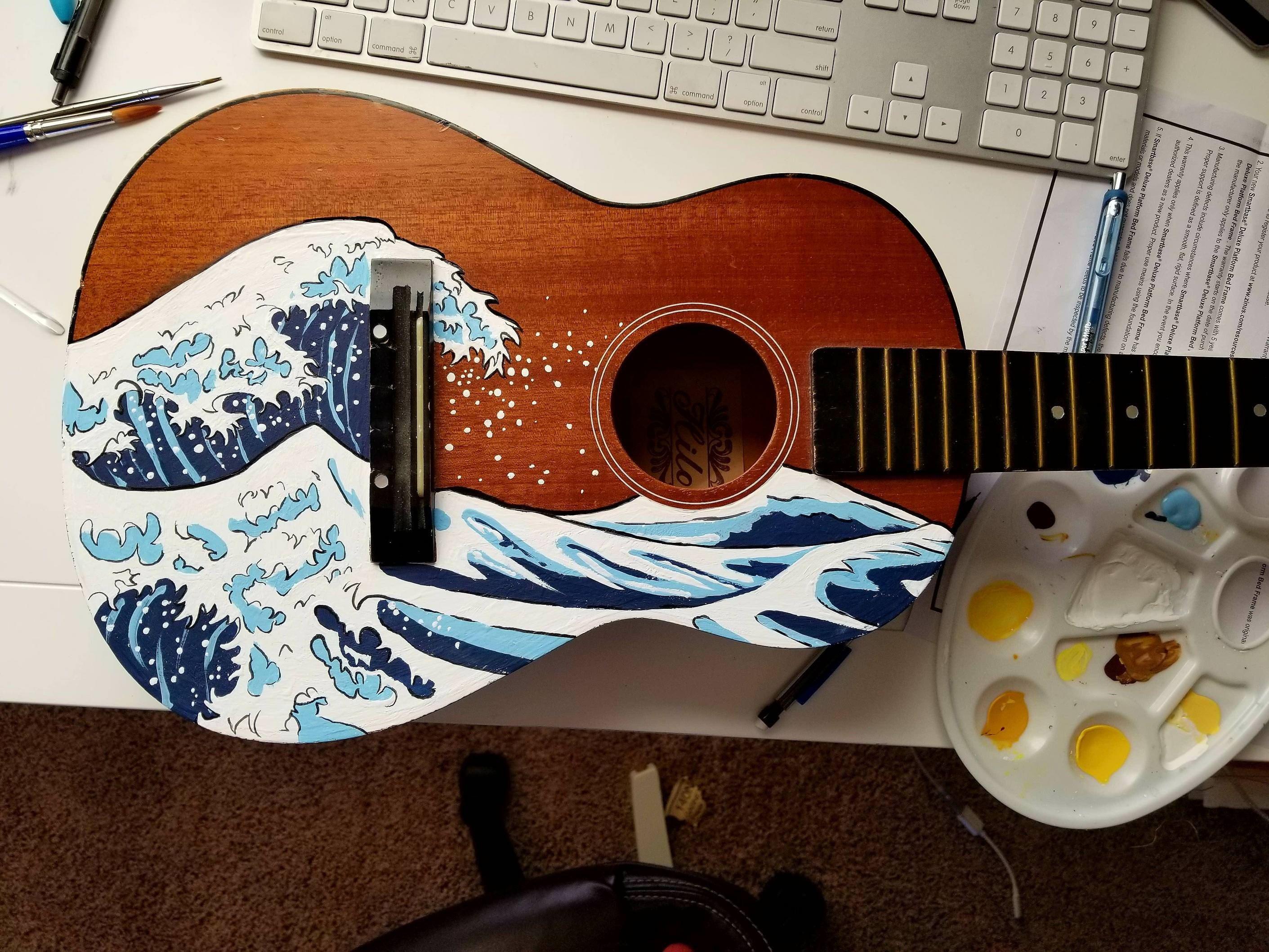 Wave On Ukulele Acrylic 14x10 Http Ift Tt 2ep3xry Ukulele Art Guitar Art Painting Painted Ukulele