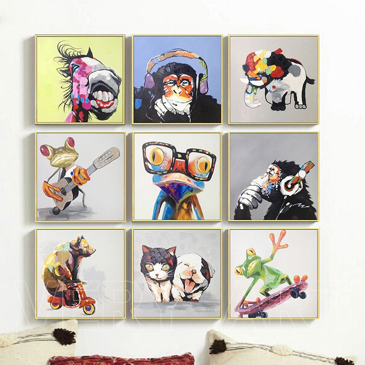 Hand Painted Cute Cartoon Animal Painting Abstract Wall Art For Home