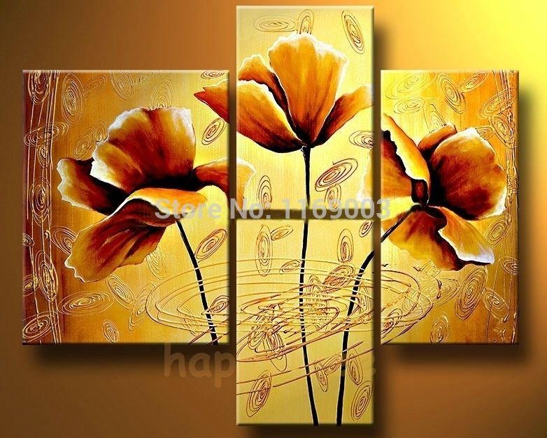 4-piece-modern-canvas-wall-art-Abstract-handmade-font-b-yellow-b ...