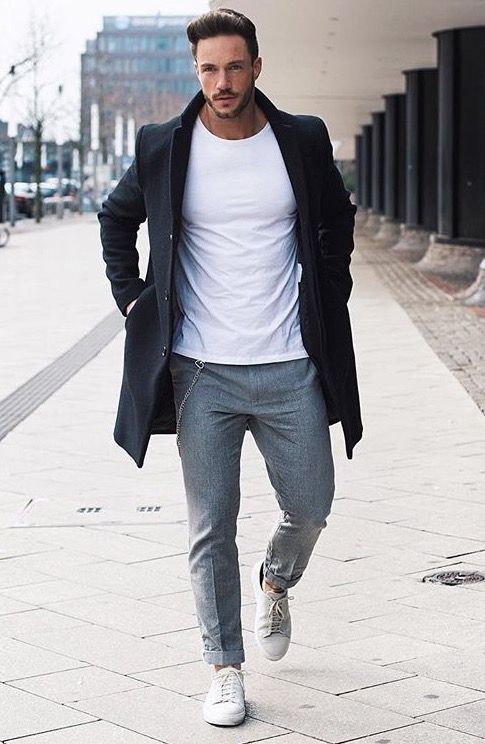 Grey Pants A White Tee A Black Coat And White Sneakers Fashion