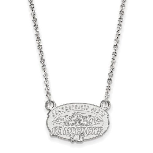 925 Sterling Silver Rhodium-plated Laser-cut North Carolina State University Large Pendant w//Necklace 18