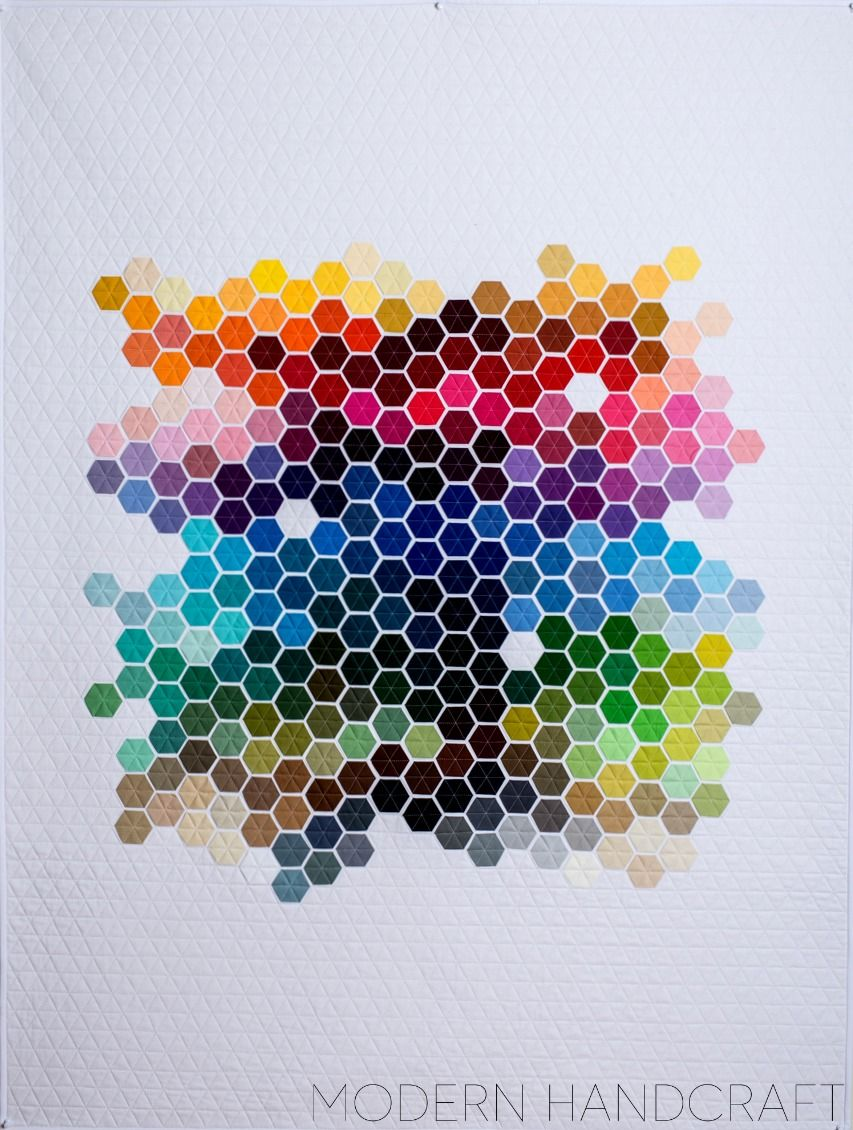 Geometric rainbow kona hexies quilt sewing n hen patchwork ideen und regenbogen - Patchwork ideen ...