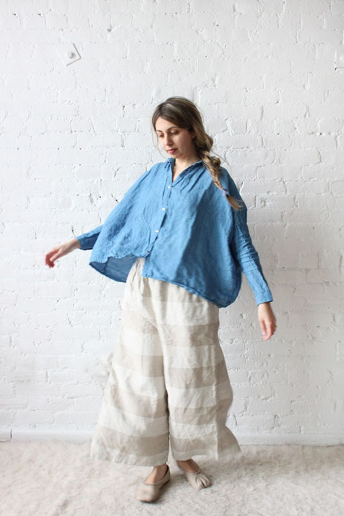 391f300fd8 Ichi Antiquites Gather Wide Shirt and Border Pants  Totally in love with  Rennes new linen pieces from Japan. The striped tunic and pant remind me of  the ...