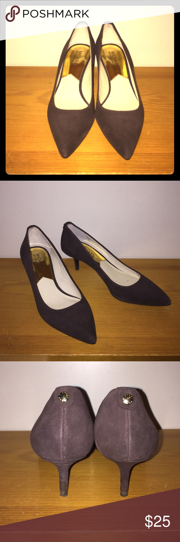 """Michael Kors Flex Kitten Suede Pump Brown suede lining, pointed toe, gold embroidery pin on back, 2"""" heel, classy, comfortable pumps! Worn 1-2 times and in great condition Michael Kors Shoes Heels"""
