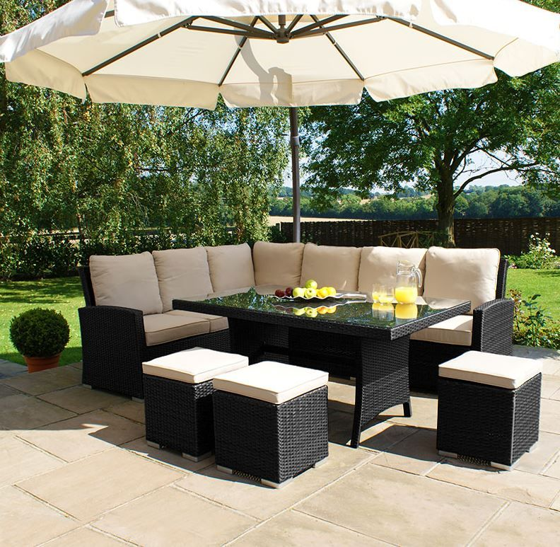 Granada 9 Seater Garden Rattan Corner Sofa Dining Set With Table Grey Garden Sofa Diy Garden Furniture Rattan Corner Sofa