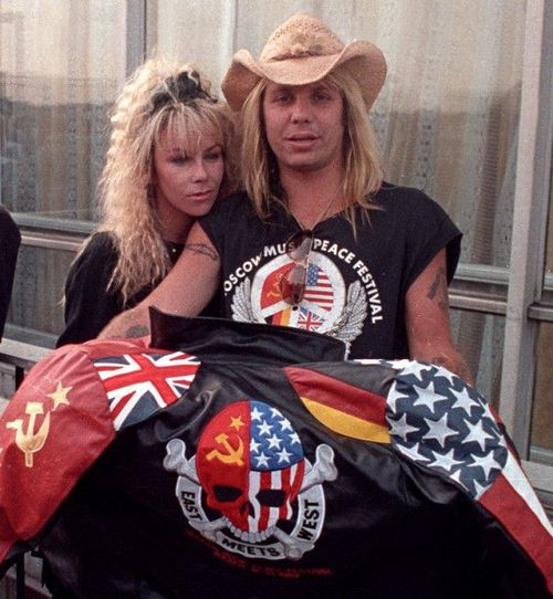 Vince Neil (w/ Sharise) showing off his Moscow Music Peace Festival jacket
