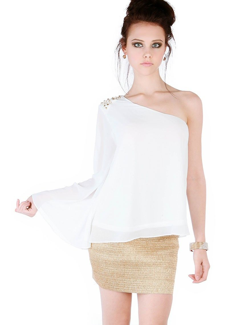 Sexy Spike One Shoulder Sheer Top