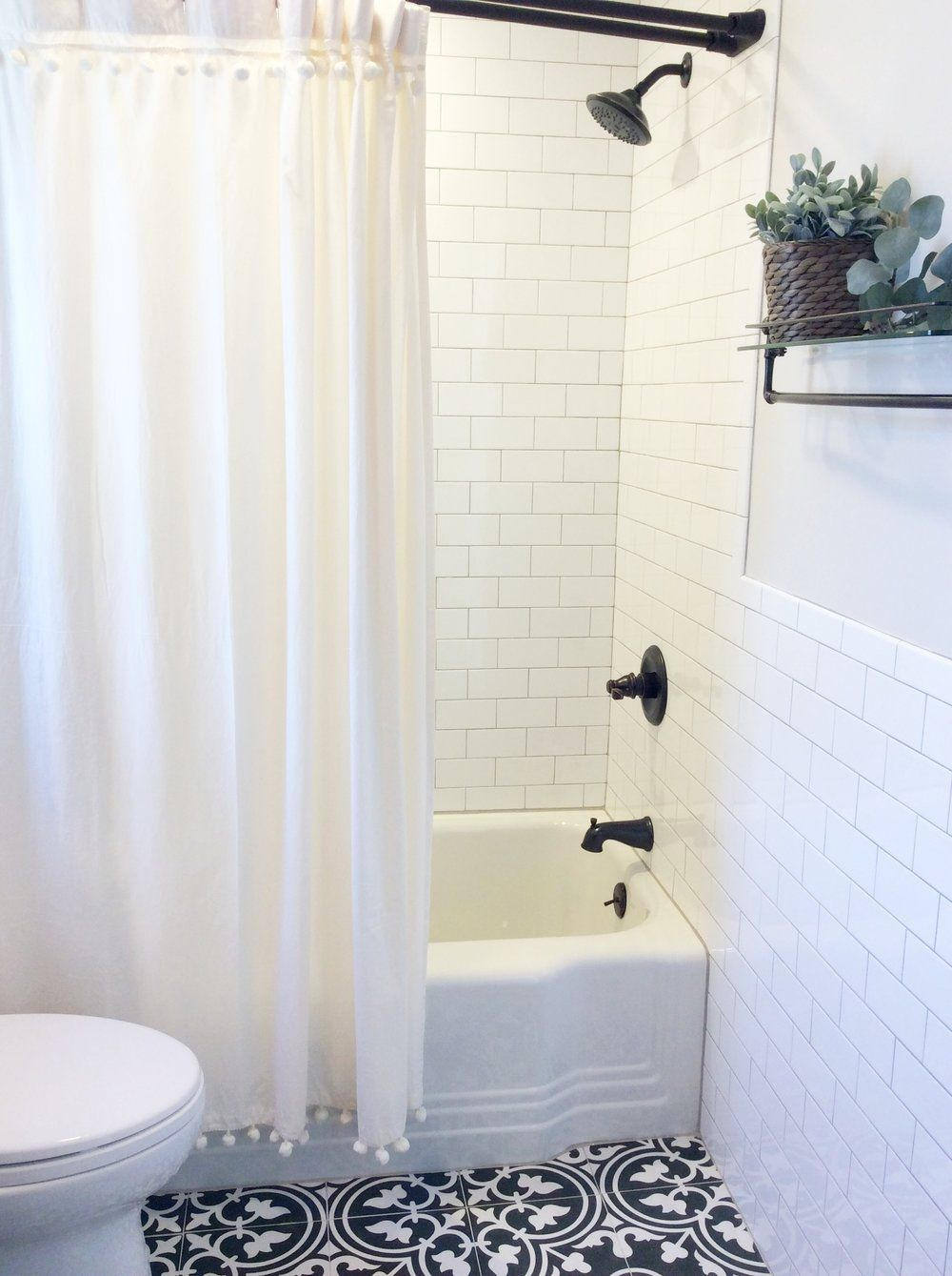 Fresh Farmhouse Style Bath Black White And Wood Bathroom Shower
