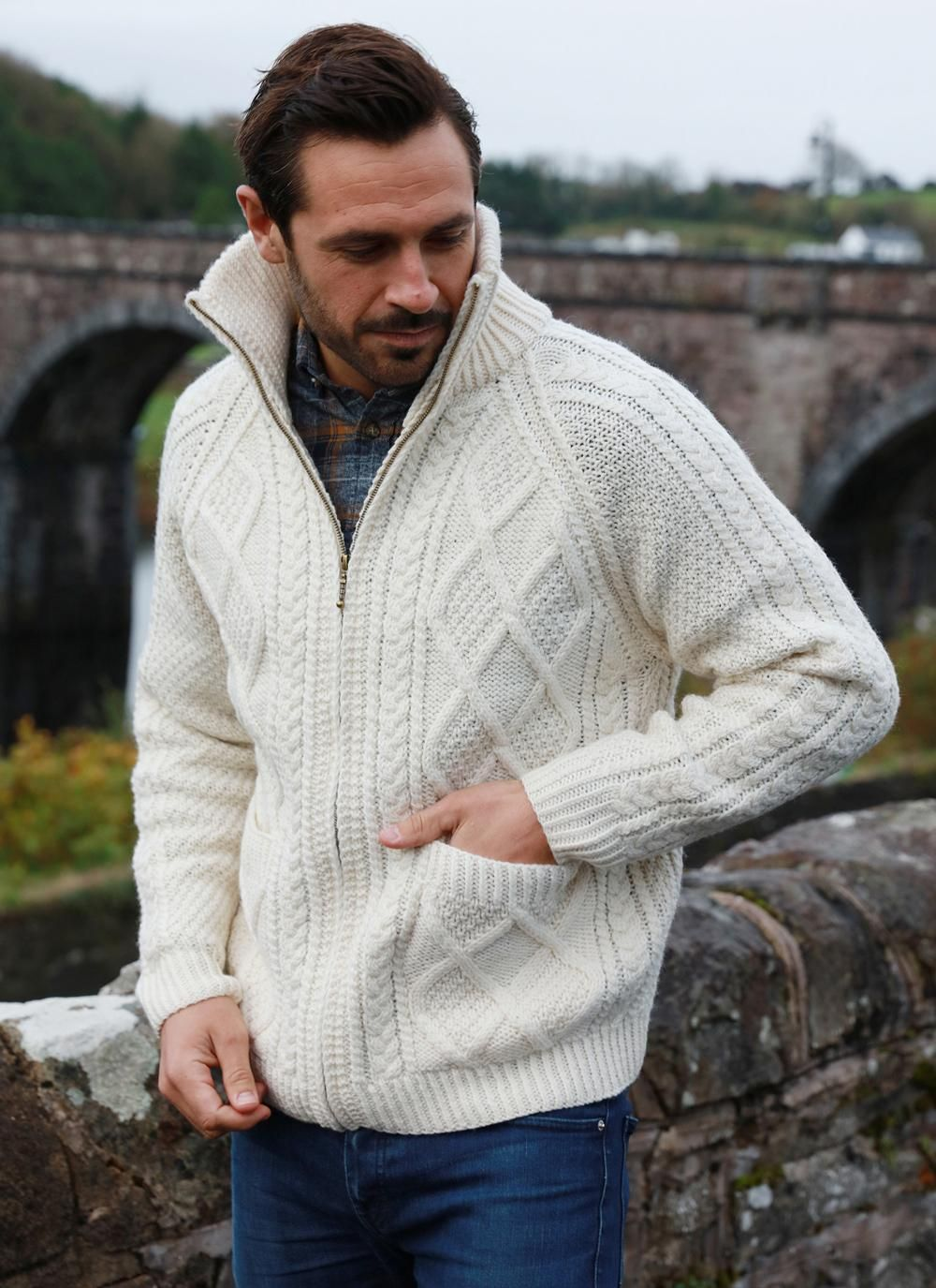 Mens Full Zip Aran Sweater Handknit With 100 Merino Wool This