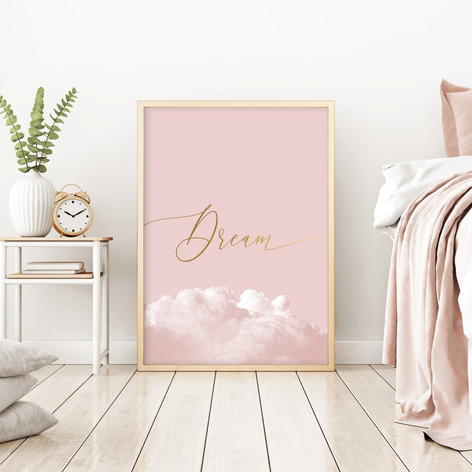 Blush Pink And Gold Bedroom Wall Decor Printable Dream Poster Pink Bedroom Wall Art Downloadable Scandi Print Dusky Pink Clouds Art Download Light Pink Rooms Pink Wall Decor Pink Room Decor