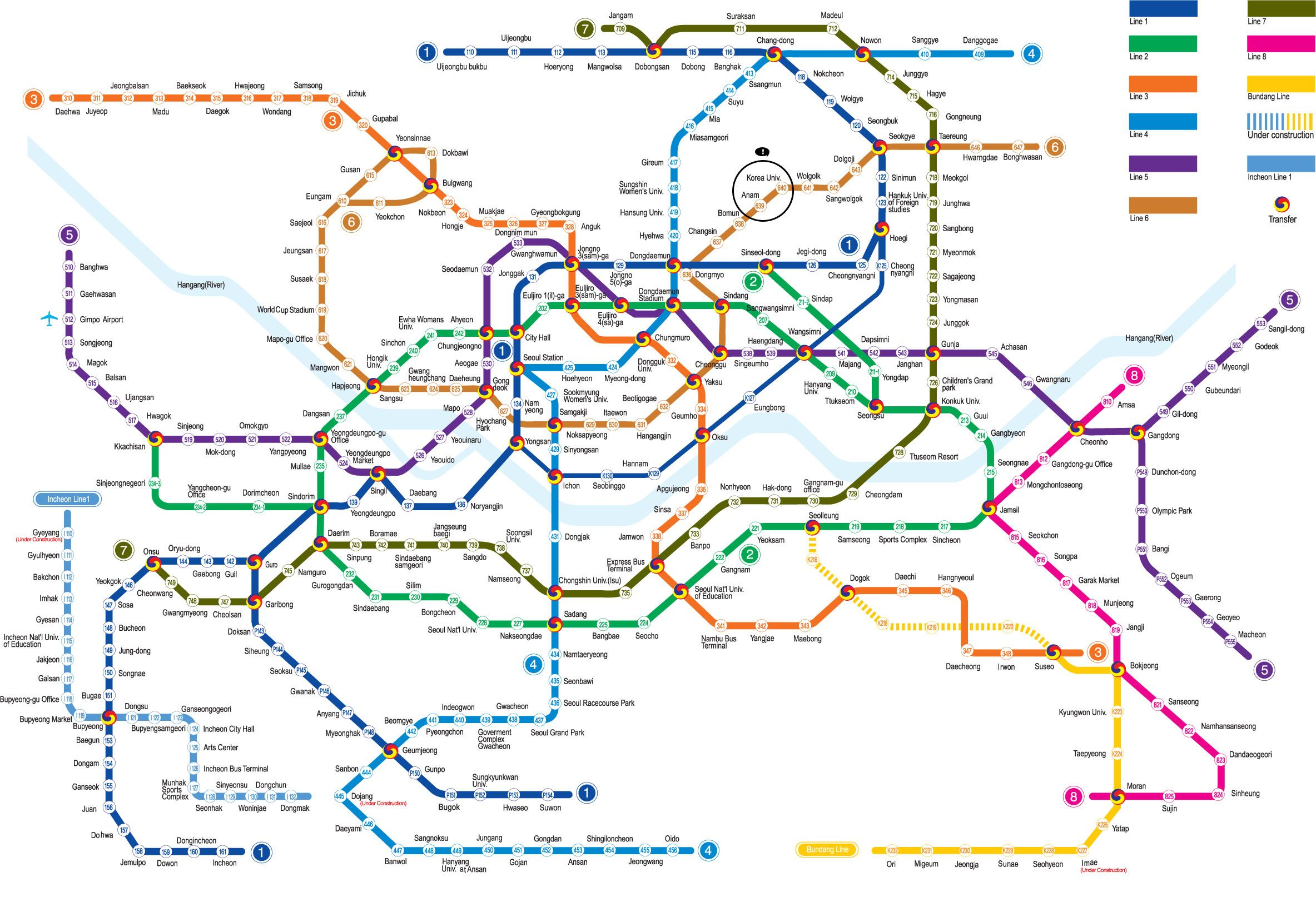 Seoul, Subway map and ...