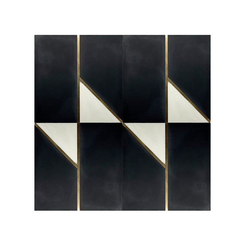 Bow Tie Black Cement Tile With Brass Inlay In 2020 Cement Tile Black Cement Handcrafted Tile