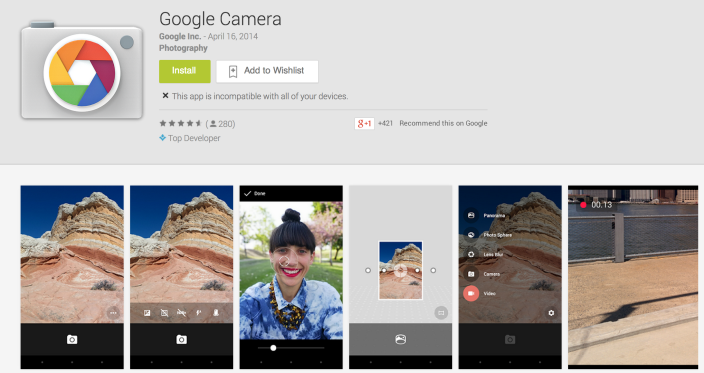 google camera install from play store