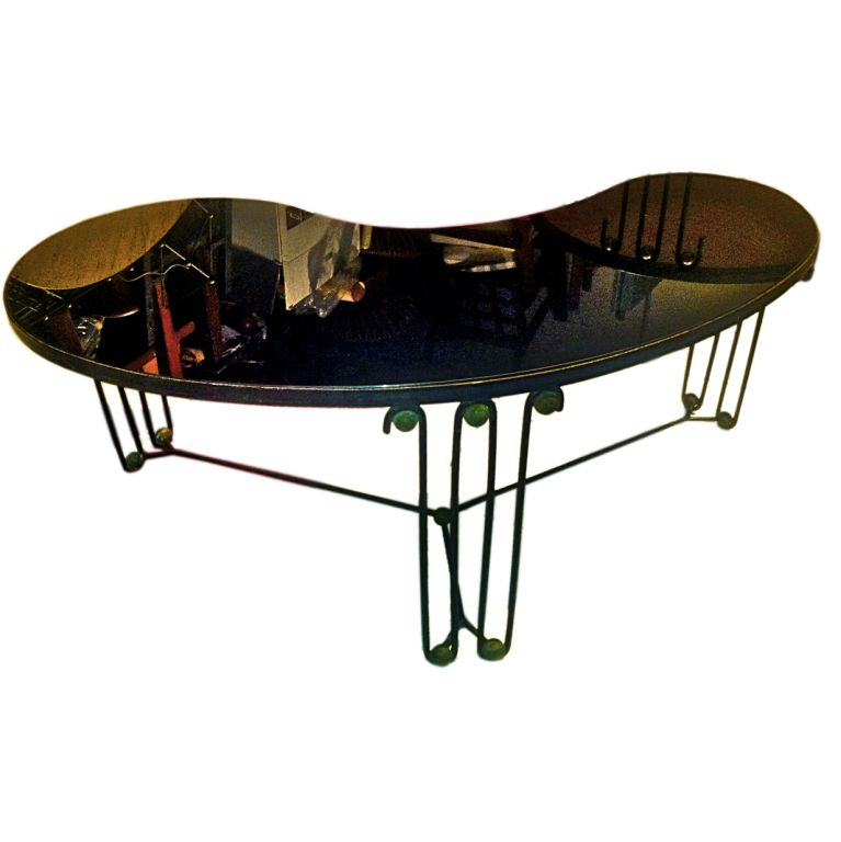 Jean Royere Rare Boomerang Coffee Table In Black Wrought Iron With Wave Leg  And Brass Balls
