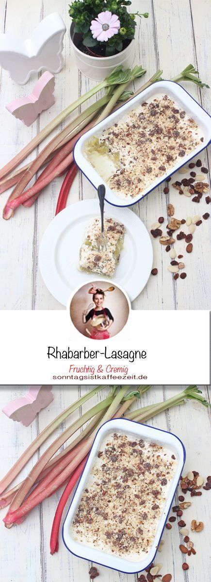 Diese Rhabarber-Lasagne ist übrigens sehr einfach zu machen. Man kocht ein Mus aus dem Rhabarber. Dann macht die Creme, aus Eiern und Mascarpone. Danach schichtet man Löffelbiskuits in eine Auflaufform und gibt zuerst das Rhabarber Mus darüber und dann die Creme. Danach kommt alles für 5 Stunden in den Kühlschrank. Bevor man es serviert, streut man das Studentenfutter darüber. Fertig ist die Rhabarber-Lasagne! #rhabarber #Frühling #lasange #dessert #nachtisch #löffelbiskuitrezept Diese R #löffelbiskuitrezept