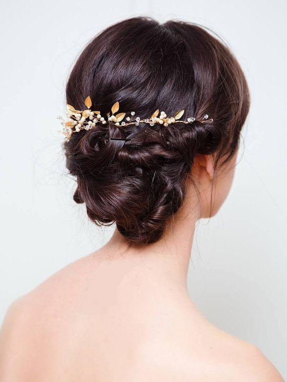 Bridal Hair Vine Gold Leaf Hair Comb Gold Vine Hair