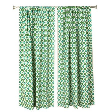 Set of two cotton curtain panels with diamond motifs. Made in the USA.     Product: Set of 2 curtain panelsConstructi...