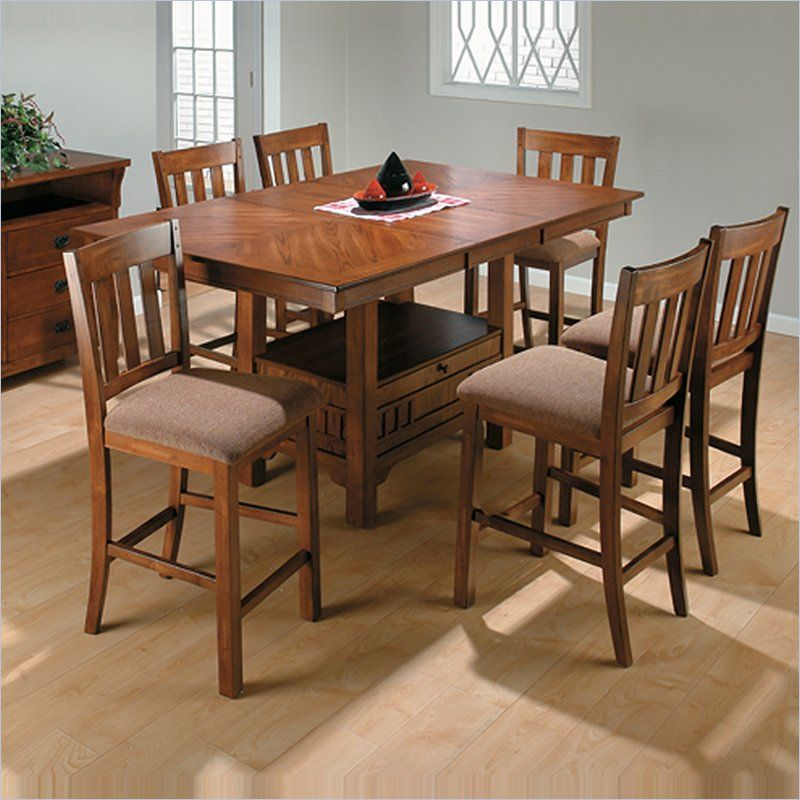 Jofran 7 Piece School House Counter Height Dining Set In Saddle Brown Oak    477