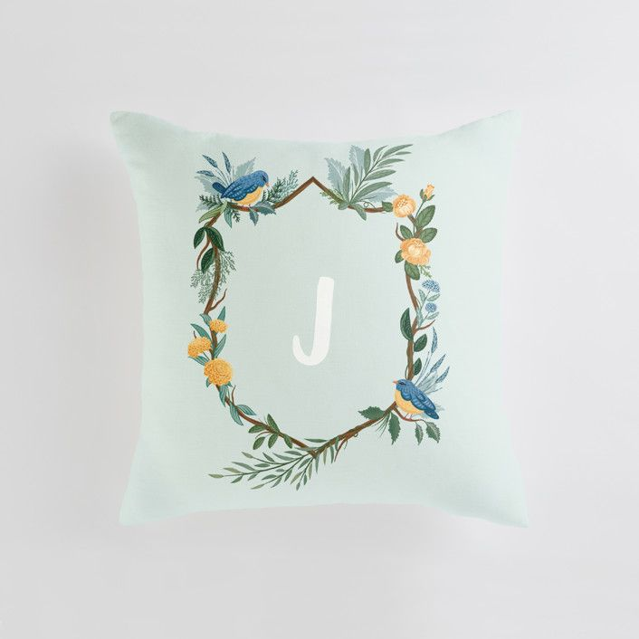 Quot Nature S Crest Quot Personalizable Pillow In Mint By Paper