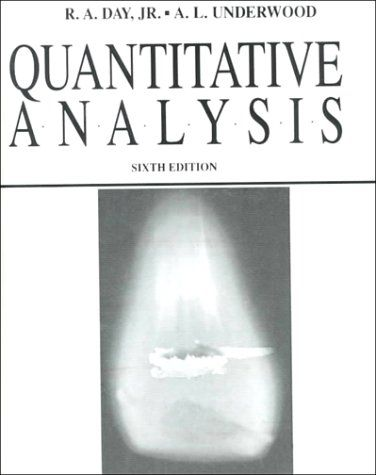 Quantitative Analysis Th Edition By RA Day AL Underwood