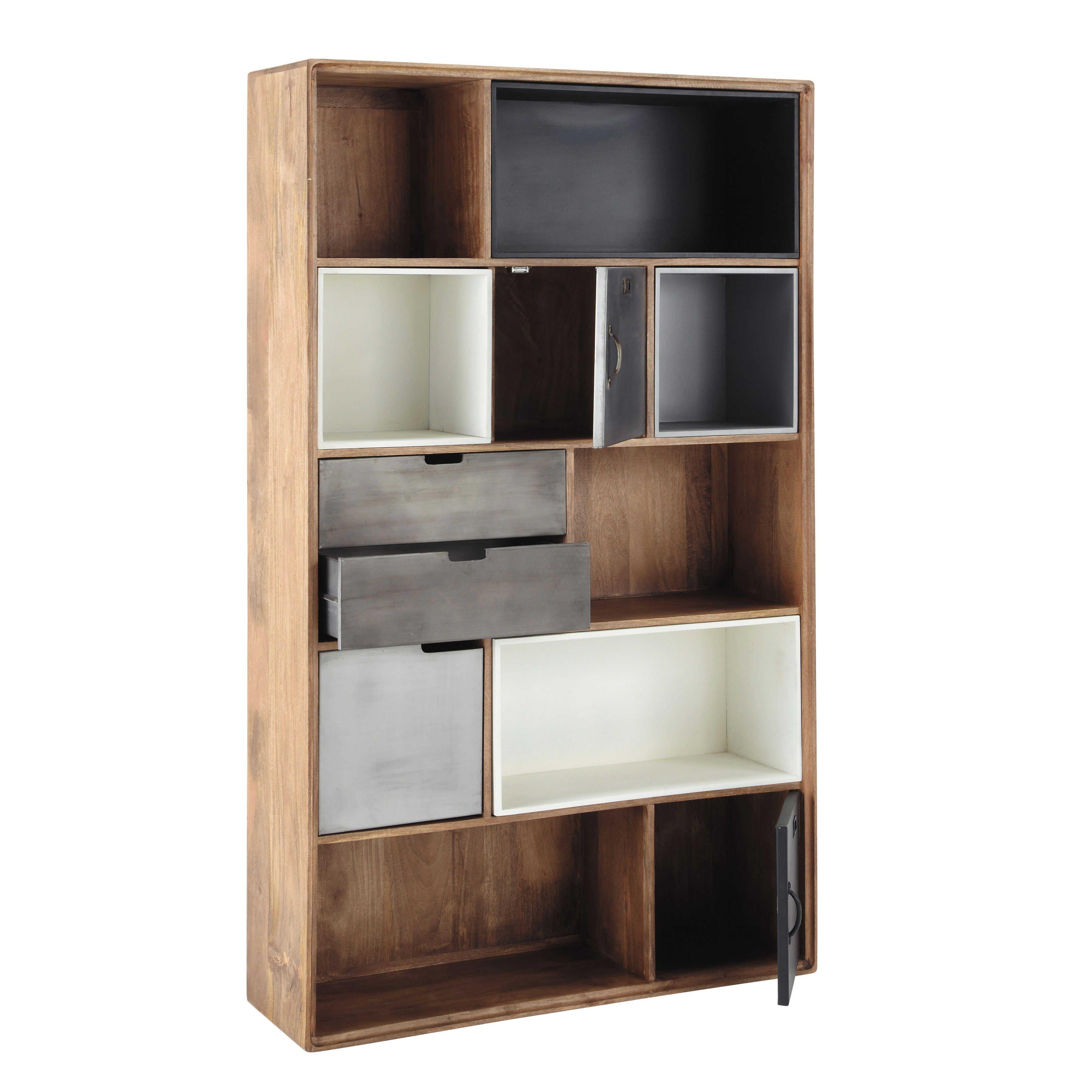 Mango Living Room Furniture Solid Mango Wood Industrial Bookcase W 110cm Lenox Maisons Du