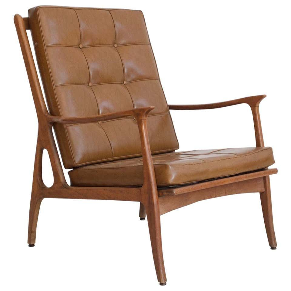 Lounge Chair with Wooden Frame and Brown Leather Cushions