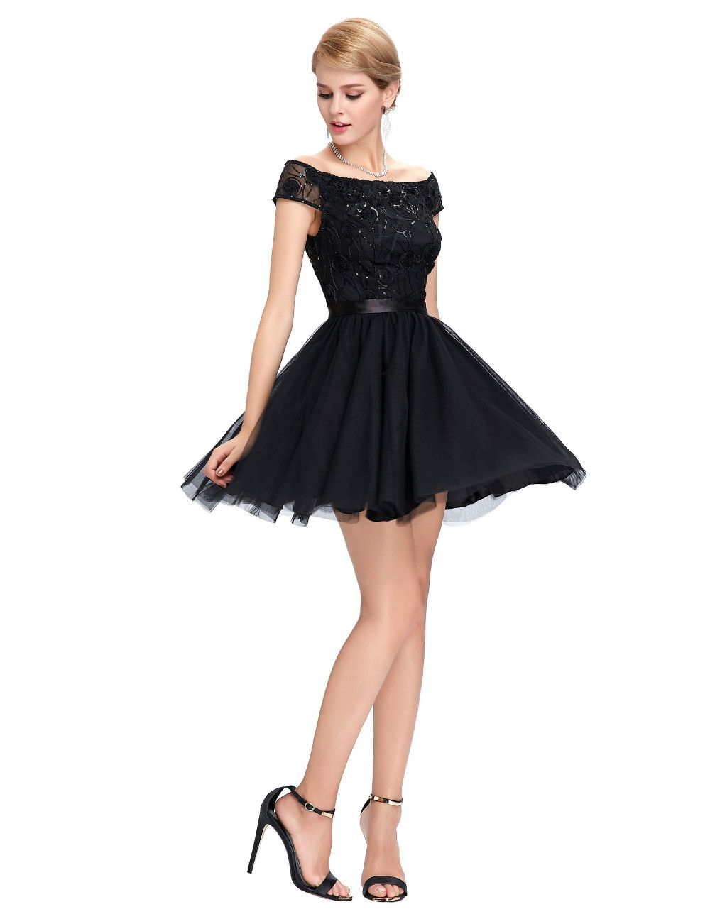 Sexy see through back lace cocktail dresses party dress cap sleeve