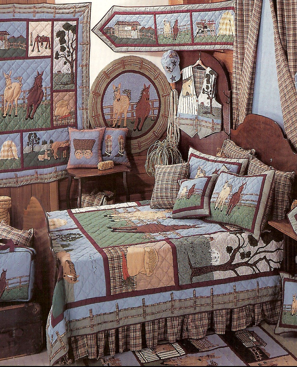Horse 6 Pc King Deluxe Patchwork Quilt Set 2 Quilted