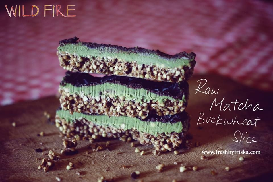 Raw Vegan Matcha Slice with Cacao topping
