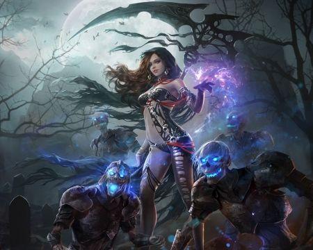 Dark Magician Girl Wallpaper Imgur Karma Flames Dead Scythe Skulls Dark Glow Asbtract