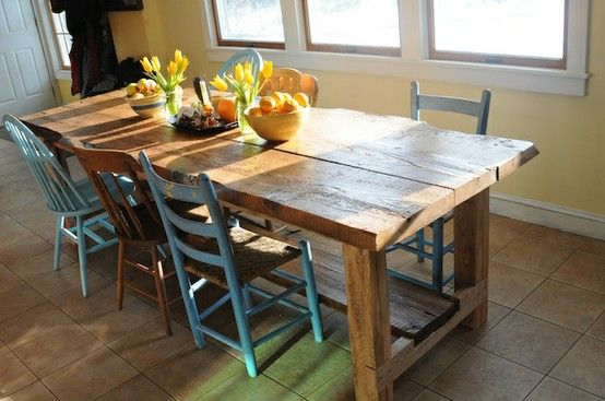 Reclaimed Furniture From Barn Boards | Barn Board Table And Mixed Chairs