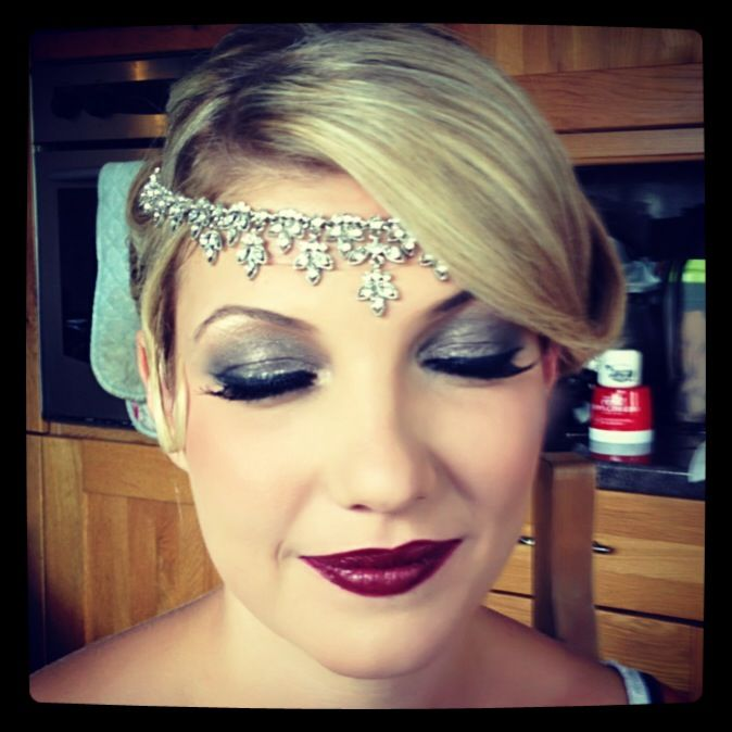 Use Gray Shimmer And Black Eyeshadow Fake Eyelashes You Can Also Use Black Eyeliner 1920s Makeup Vintage Makeup Gatsby Hair