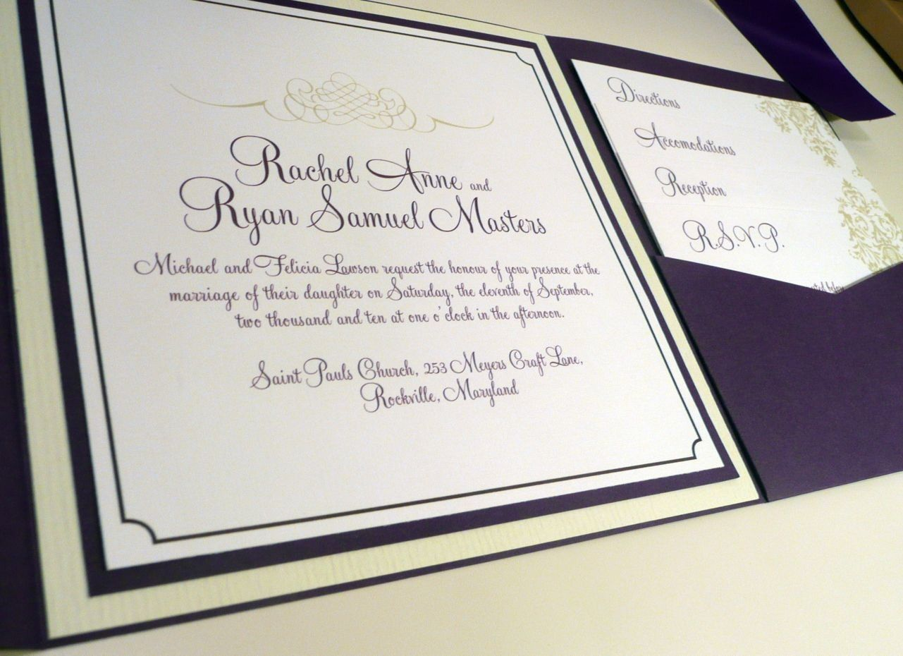Jadore Damask Wedding Invitation - Purple and Mint Pocketfold Sample ...