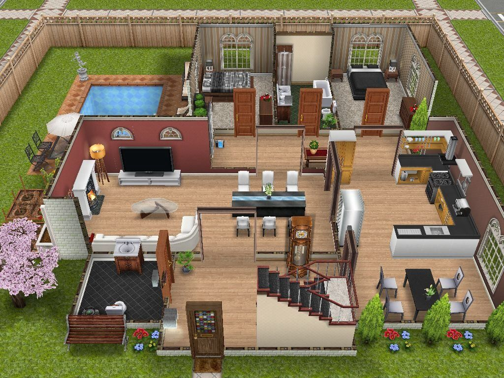 Make2 This Two Story House In The Scenic Sims Landing Sims House Sims Freeplay Houses Sims House Design