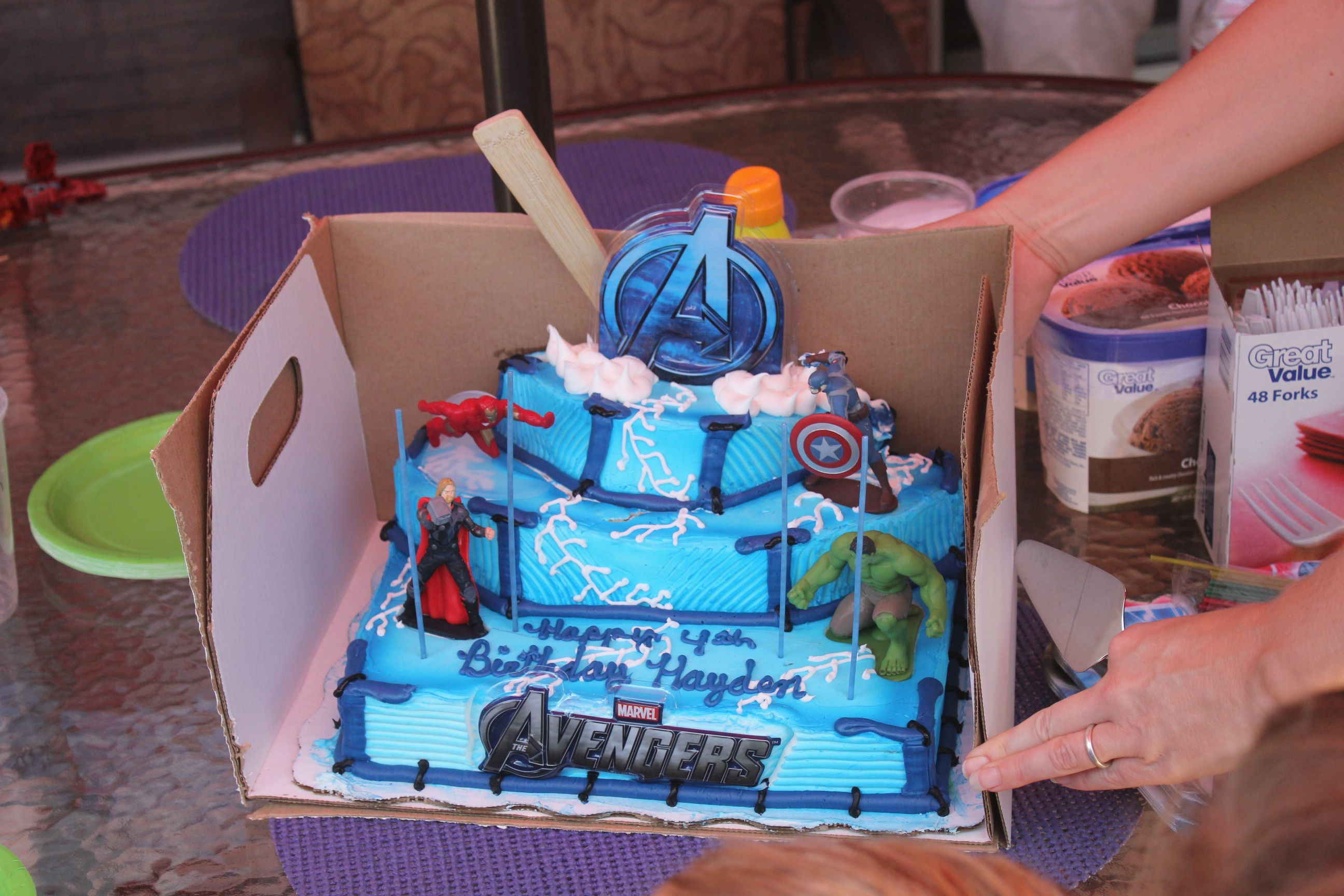 Avengers Cake From Walmart Unfortunately The Top Layer Slipped In Car Ride Homenot Bad Except For That