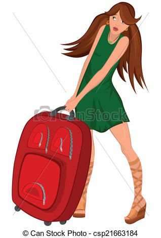 Mujer vestido rojo caricatura