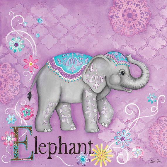 Elephant Wall Art Childrens Moroccan Decor Girls Room Nursery Purple Whimsical Playroom Bathroom Tween Teen By