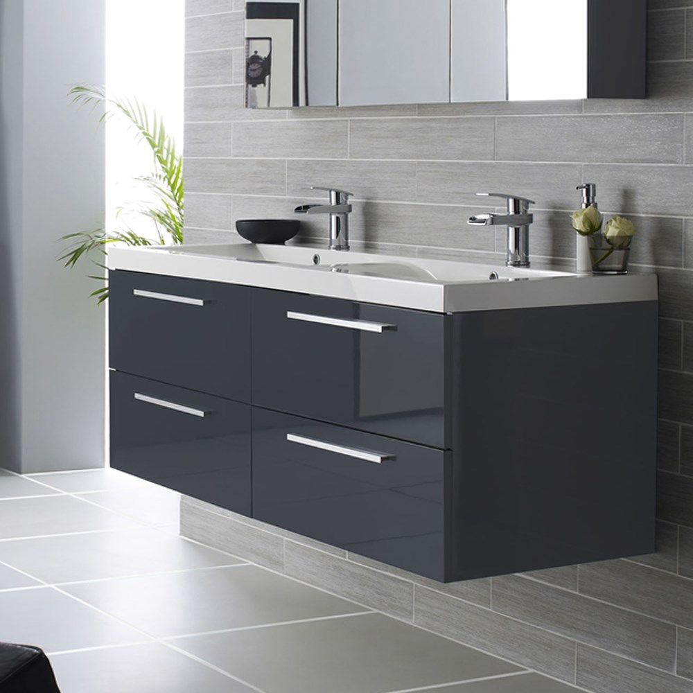 Hudson reed quartet wall mounted double vanity unit polymarble basin high gloss grey Bathroom cabinets gray