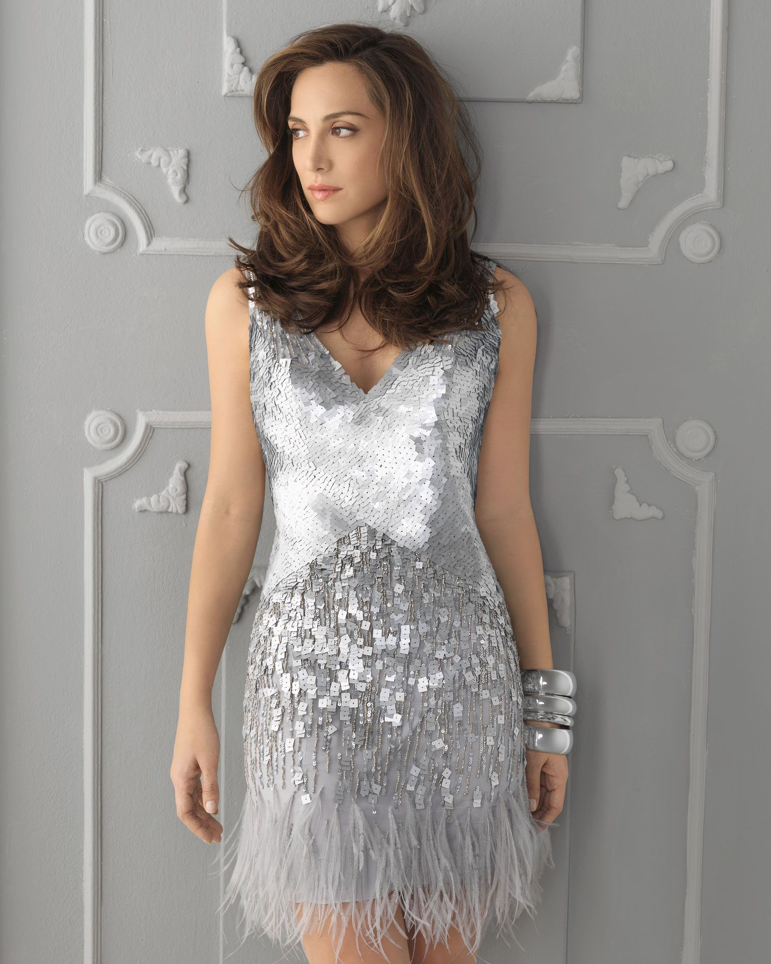 Wedding day guest dresses  Silver sequin feather wedding guest dress  happily ever after