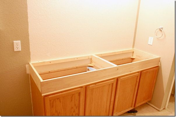 Adding 6 Of Height To Stock Cabinets In The Bathroom Clever Using Pocket Hole Secure It