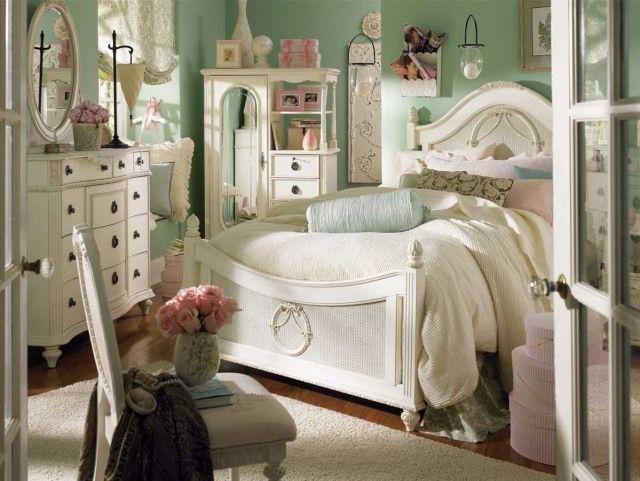 schlafzimmer gestaltung shabby chic cremeweiße möbel