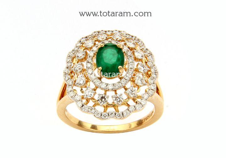 18K Gold Diamond Ring With Green Stone Indian Diamond Jewelry
