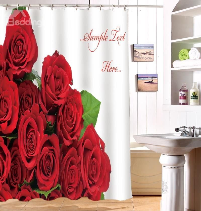 Vivid Glam Red Roses Image 3d Shower Curtain Modern Shower