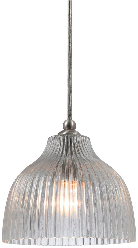 Mini Pendant Light Glass Lamp Shade Clear Ridges Bell