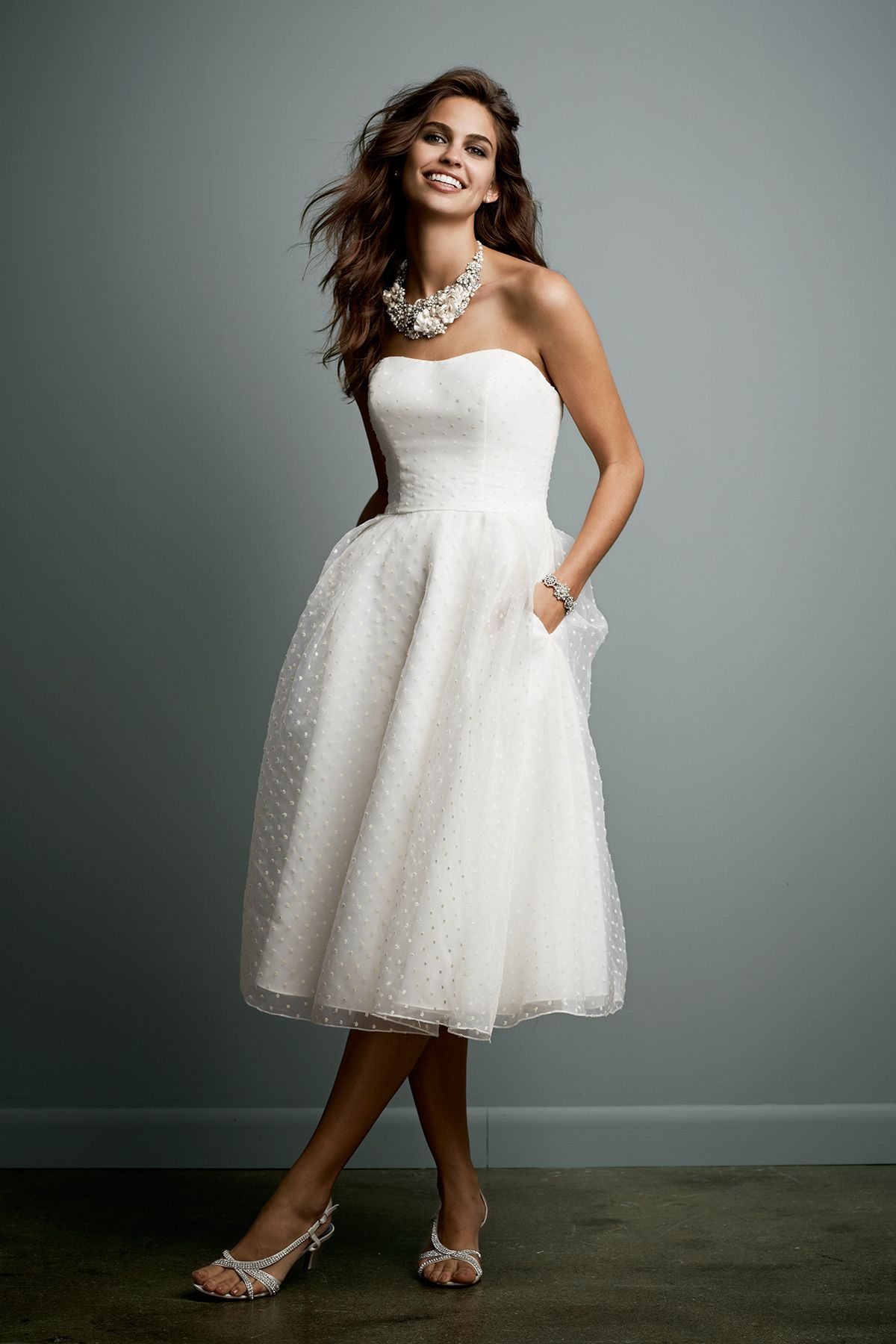 Tea Length Dotted Organza Wedding Gown David S Bridal Wedding Dress Organza Tea Length Wedding Dress Organza Wedding Gowns [ 1800 x 1200 Pixel ]