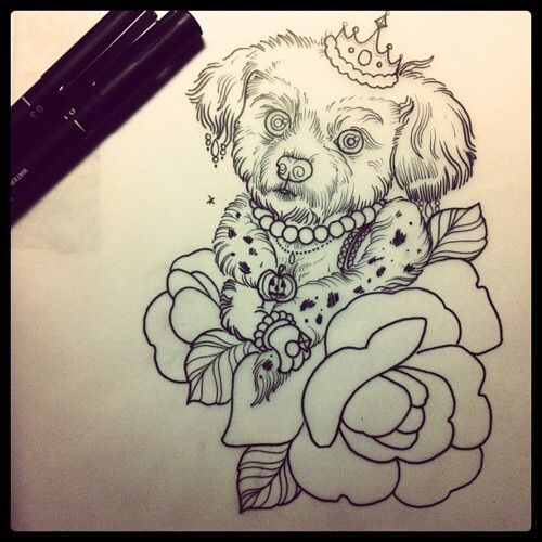 Image via We Heart It #dogs #poodle #PROCESS #rose #sketch #tattoo #Tattoos