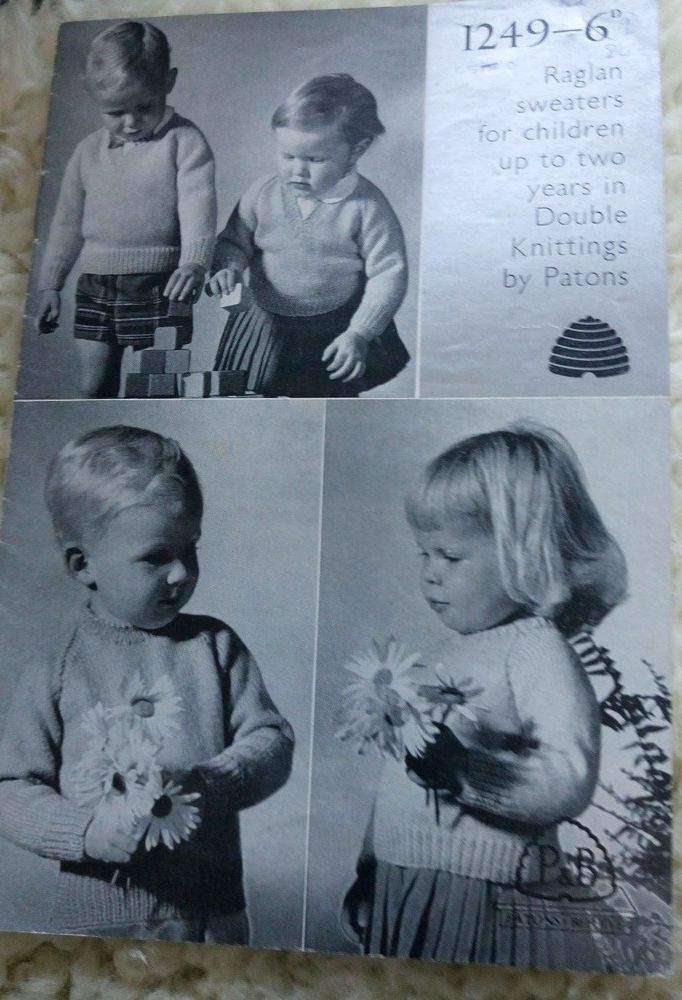 Patons Sweaters for Children Up to 2 Years vintage knitting pattern ...
