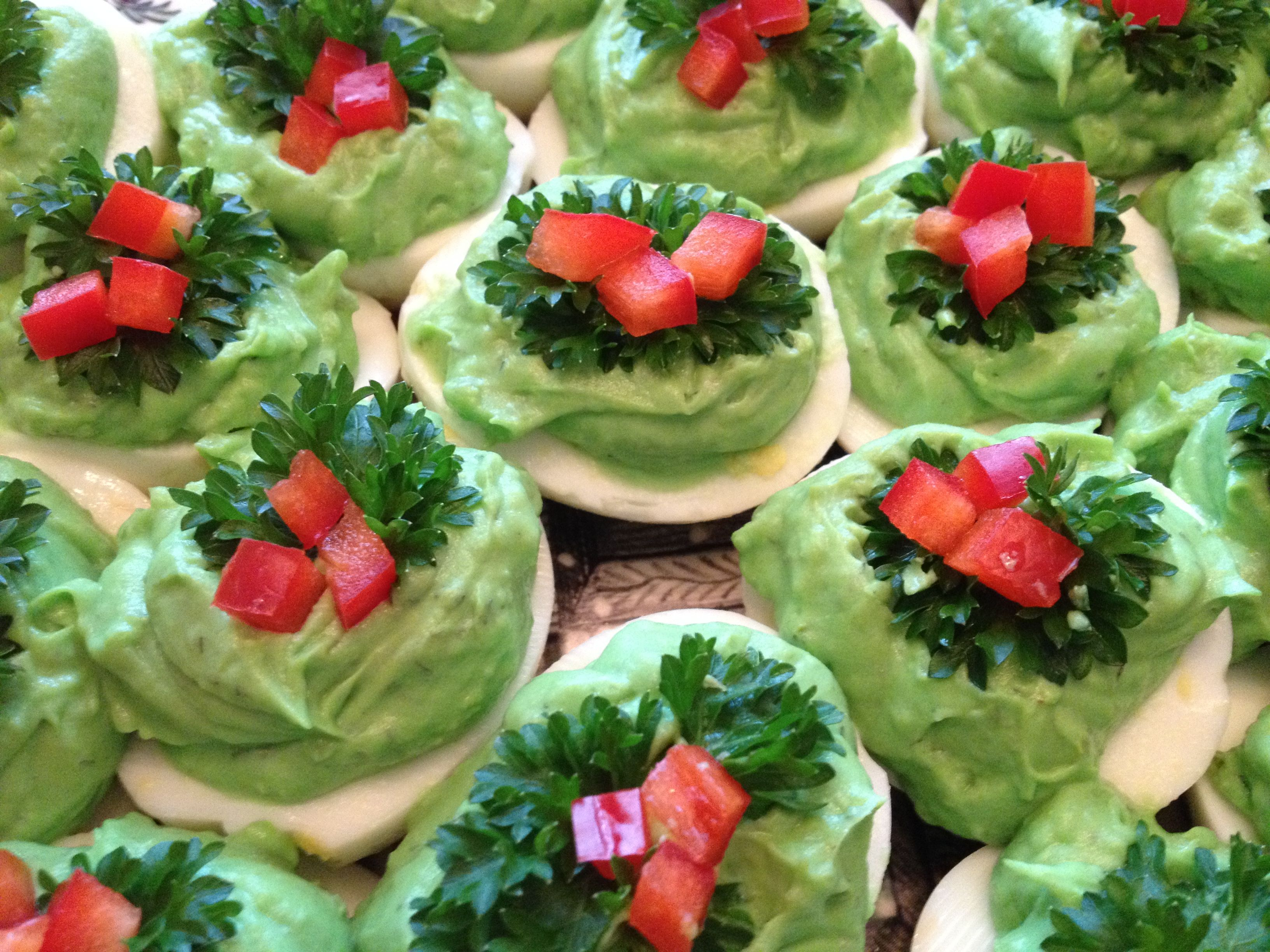 Christmas deviled eggs add one avocado to the yolks of one dozen christmas deviled eggs add one avocado to the yolks of one dozen eggs add one drop food coloring for darker green holly is parsley and red bell pepper forumfinder Choice Image