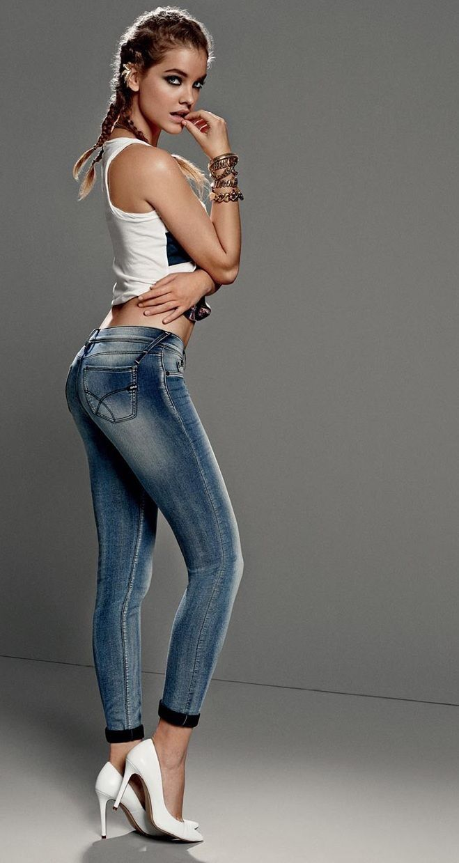 Sexy and hot model poses in shorts, jeans, bikini, lingerie, back ...